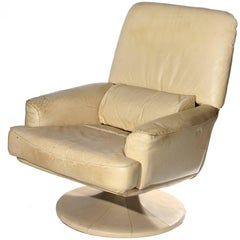 1980s Synthetic Leather Rotating Sofa