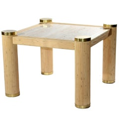 1980s Bamboo and Brass Italian Square Side Table