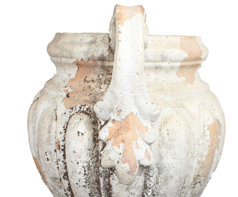 Baroque Pair of Natural French Terracotta Urns with Handles For Sale