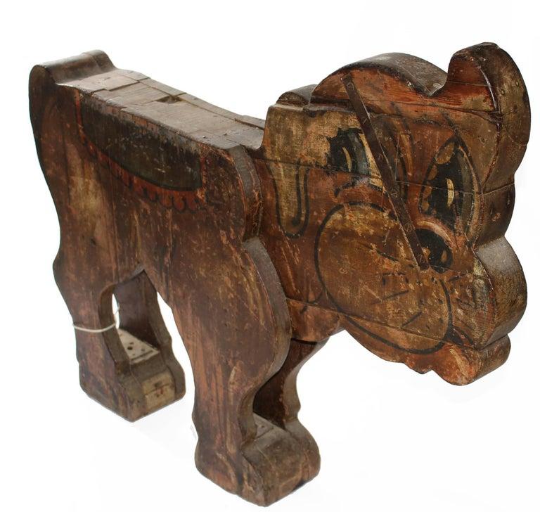 Mid-Century Modern Spanish, 1850s Fair Carousel Wooden Dog For Sale