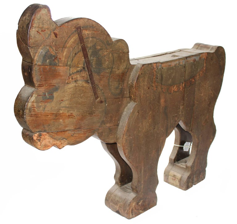 Spanish, 1850s Fair Carousel Wooden Dog In Good Condition For Sale In Malaga, ES