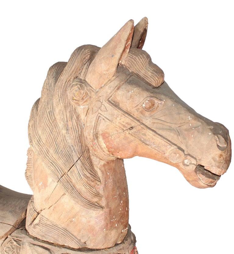 Spanish 19th Century Fairground Carousel Original Wooden Horse For Sale