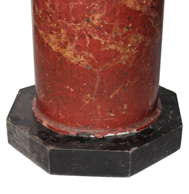 19th Century Italian Venetian Stucco and Marble Pedestal In Good Condition For Sale In Malaga, ES