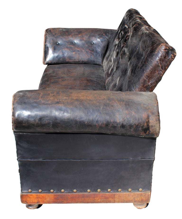 Mid-Century Modern Late 19th Century Englis Black Leather Sofa For Sale