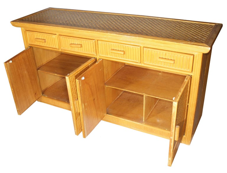 Spanish 1980s Vintage Four Drawer Bamboo Long Artdeco Commode For Sale