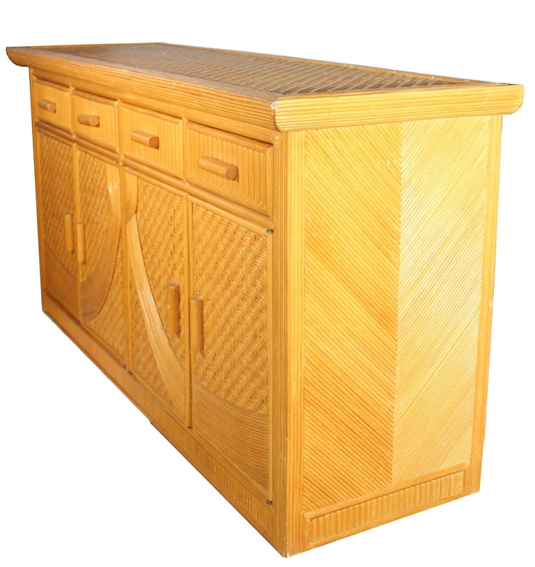 1980s Vintage Four Drawer Bamboo Long Artdeco Commode In Good Condition For Sale In Malaga, ES