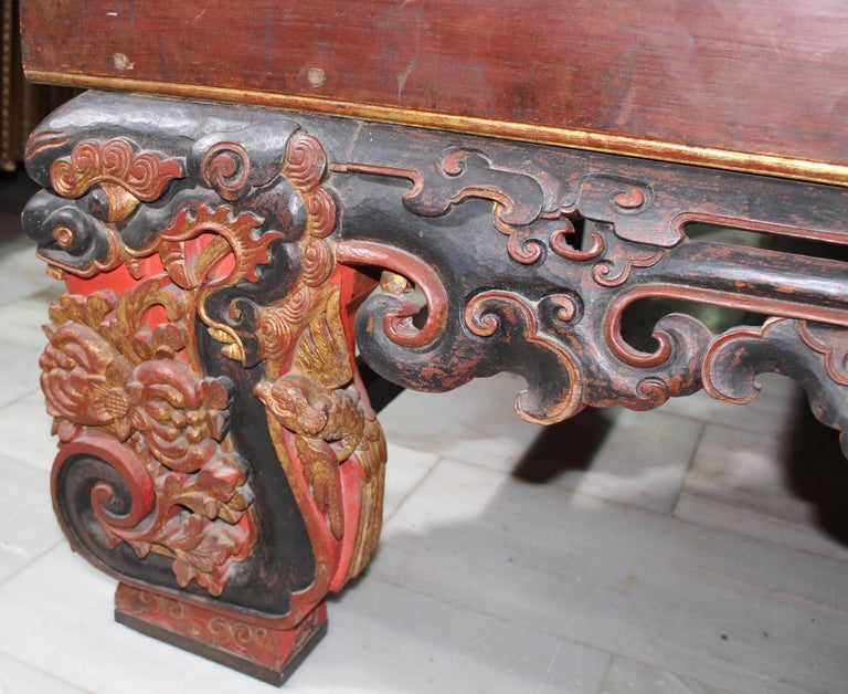Gold Leaf 19th Century Chinese Canopy Wedding Bed For Sale