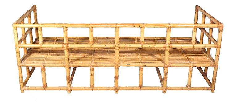 Spanish 1970s Pair of Elegant Bamboo Sofas For Sale