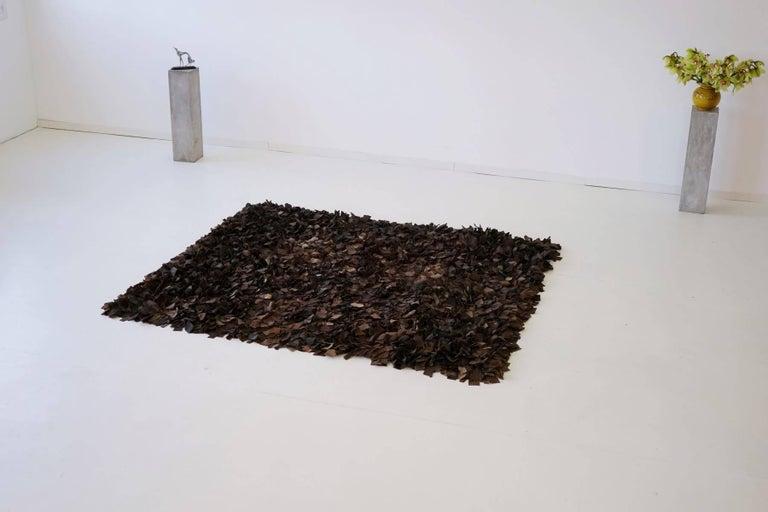Hand-Loomed Leather Carpet by Jack Lenor Larsen for Harry Flitterman For Sale 3