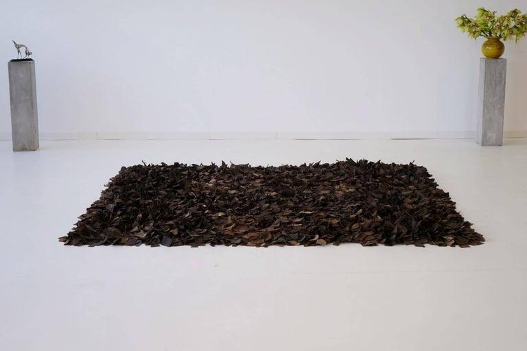 Mid-Century Modern Hand-Loomed Leather Carpet by Jack Lenor Larsen for Harry Flitterman For Sale