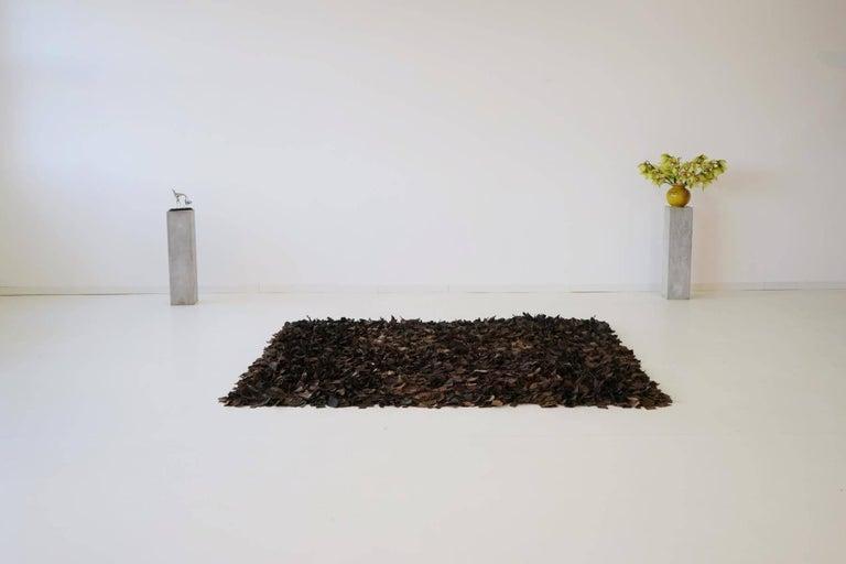Hand-Loomed Leather Carpet by Jack Lenor Larsen for Harry Flitterman For Sale 2