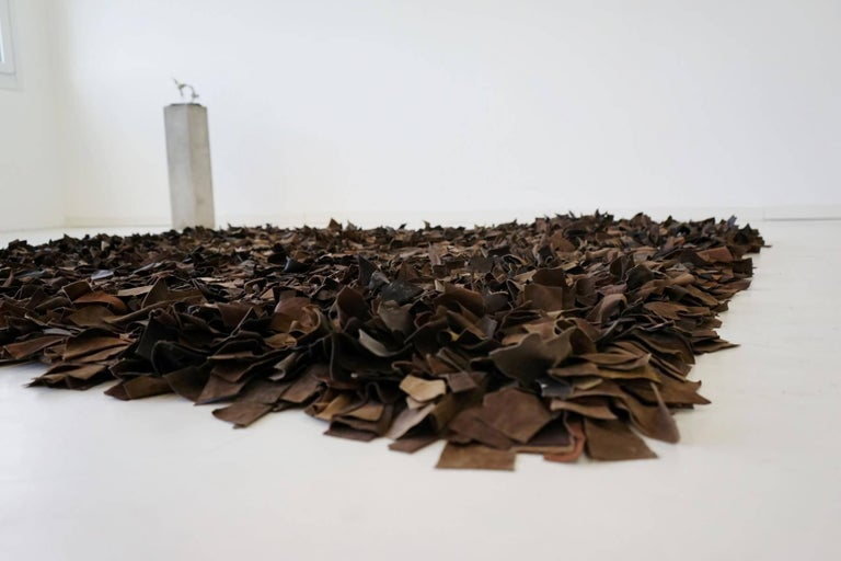 Portuguese Hand-Loomed Leather Carpet by Jack Lenor Larsen for Harry Flitterman For Sale