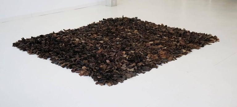 Hand-Loomed Leather Carpet by Jack Lenor Larsen for Harry Flitterman For Sale 1