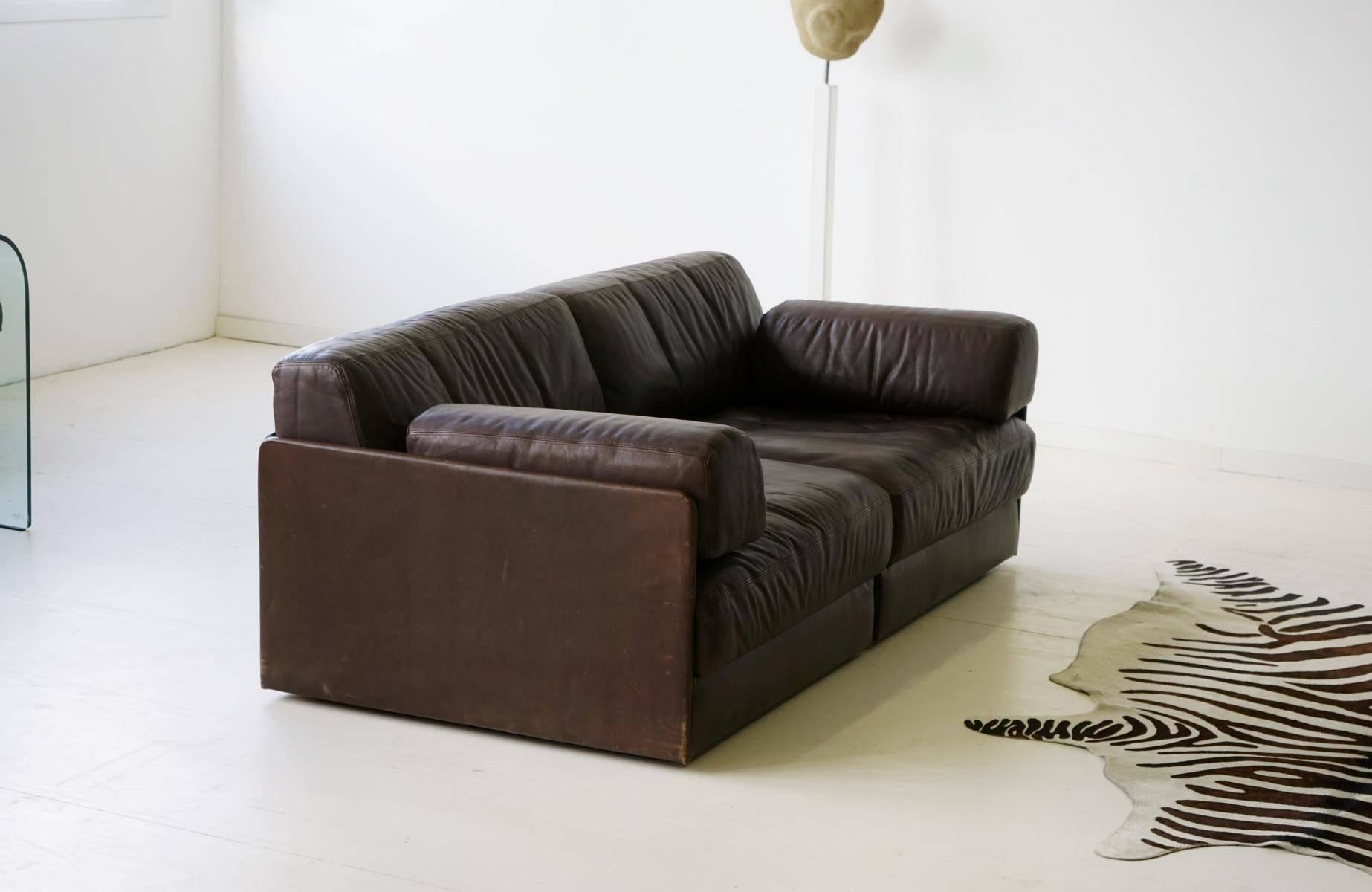 Two Seat, De Sede Ds 76 Leather Modular Lounge Sofa Daybed For Sale 1