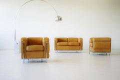 Original Le Corbusier LC 2 Seating Group Sofa and Two Chairs, Leather