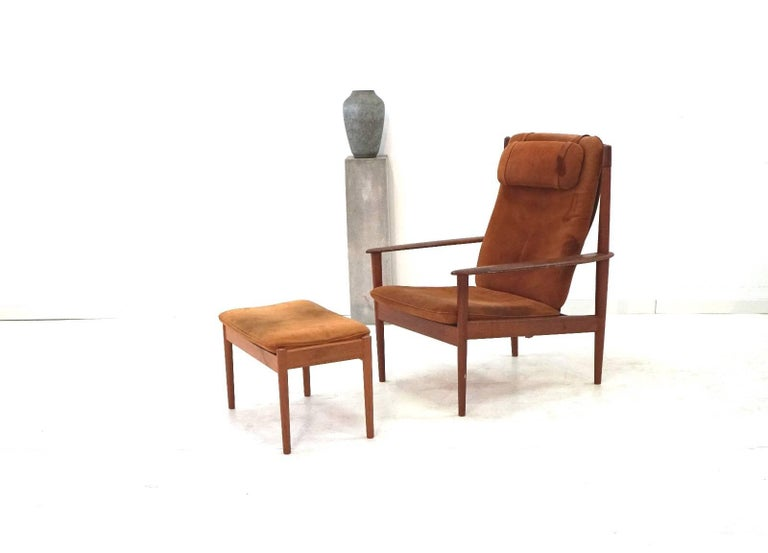 Grete Jalk For Poul Jeppesen Pj56 Danish Lounge Chair And Ottoman Teak Nubuck Leather Scandinavian Modern