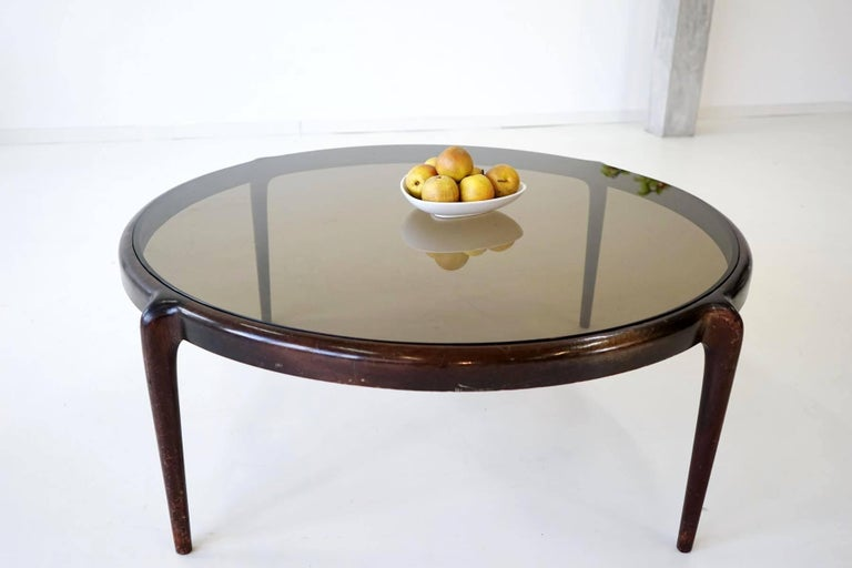 Midcentury coffee side table italian mahogany glass 1960s for 60s style coffee table