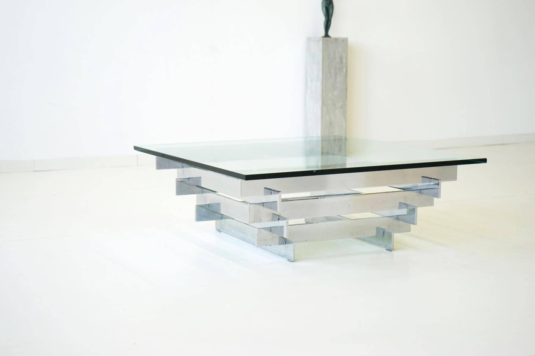 Great Mid Century Modern Glass Chrome Coffee Side Cocktail Table By Zaruch For  Sale