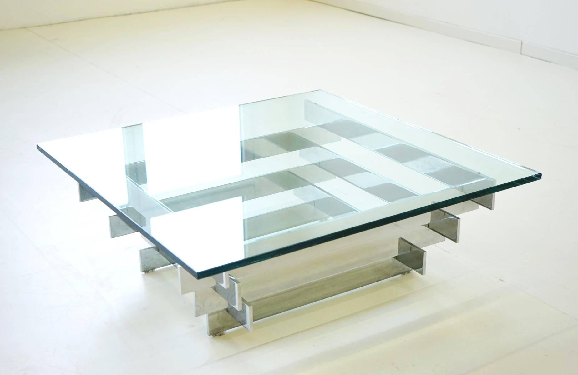 Late 20th Century Glass Chrome Coffee Side Cocktail Table By Zaruch For Sale