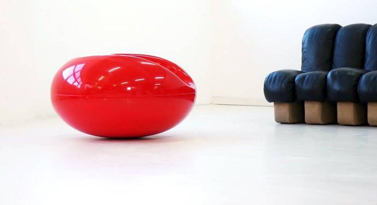 Mid-Century Modern Eero Aarnio for Asko Arm Chair Red Fiberglass Pastil