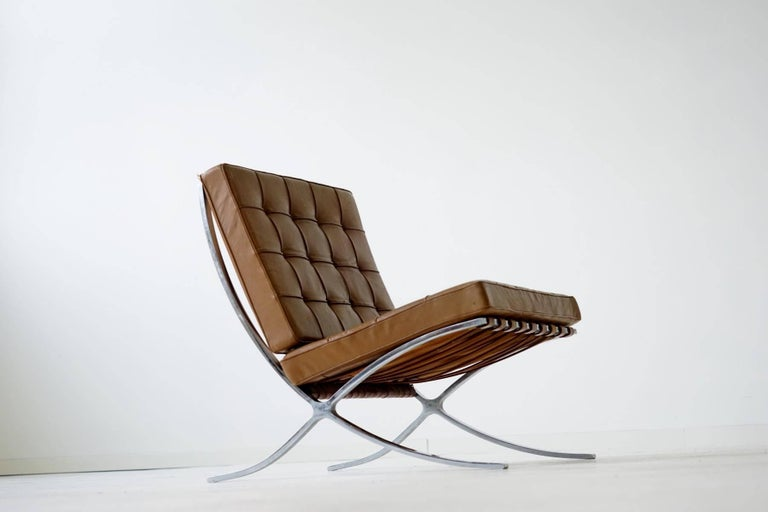 Early Barcelona Lounge Chair By Mies Van Der Rohe For Knoll