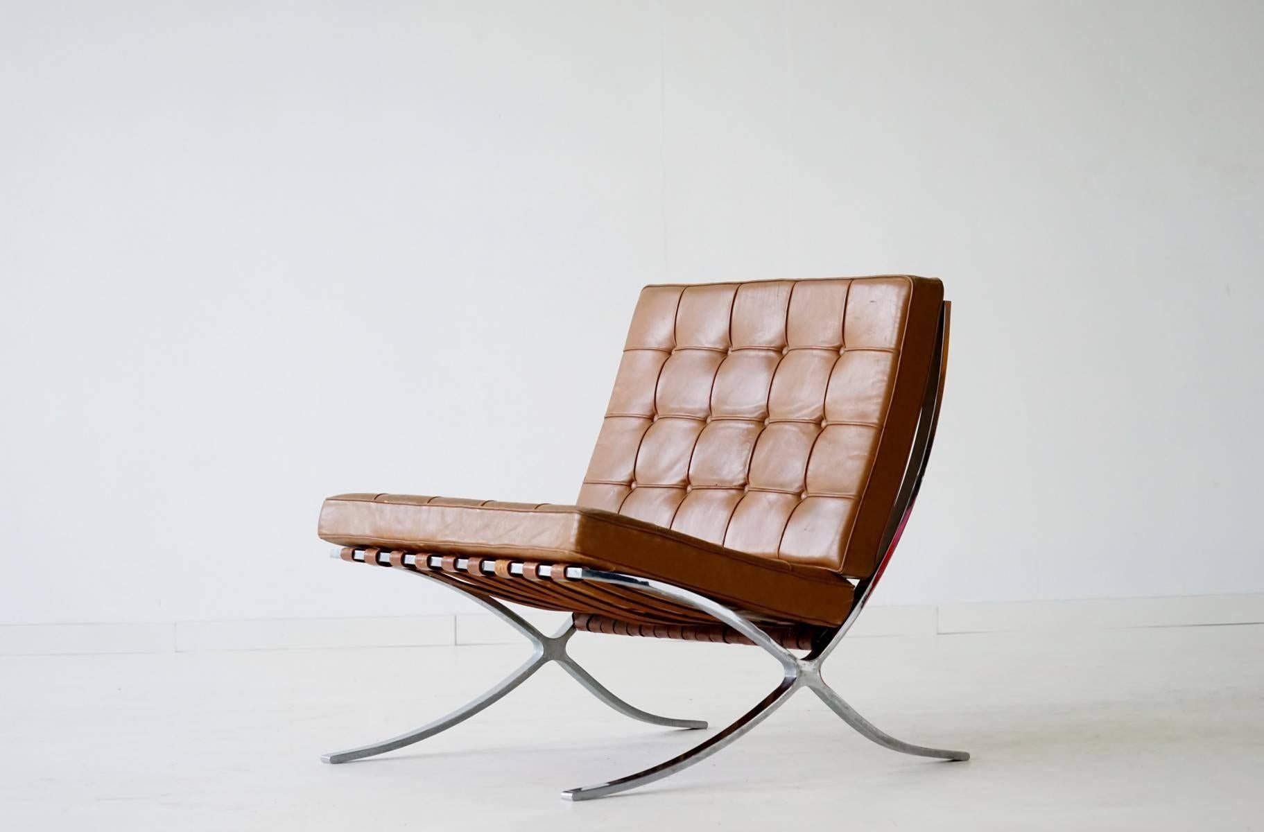 Mid Century Modern Early Barcelona Lounge Chair By Mies Van Der Rohe For  Knoll International