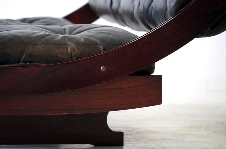 Wood Sormani Songia GS 195 Leather Sofa Daybed For Sale