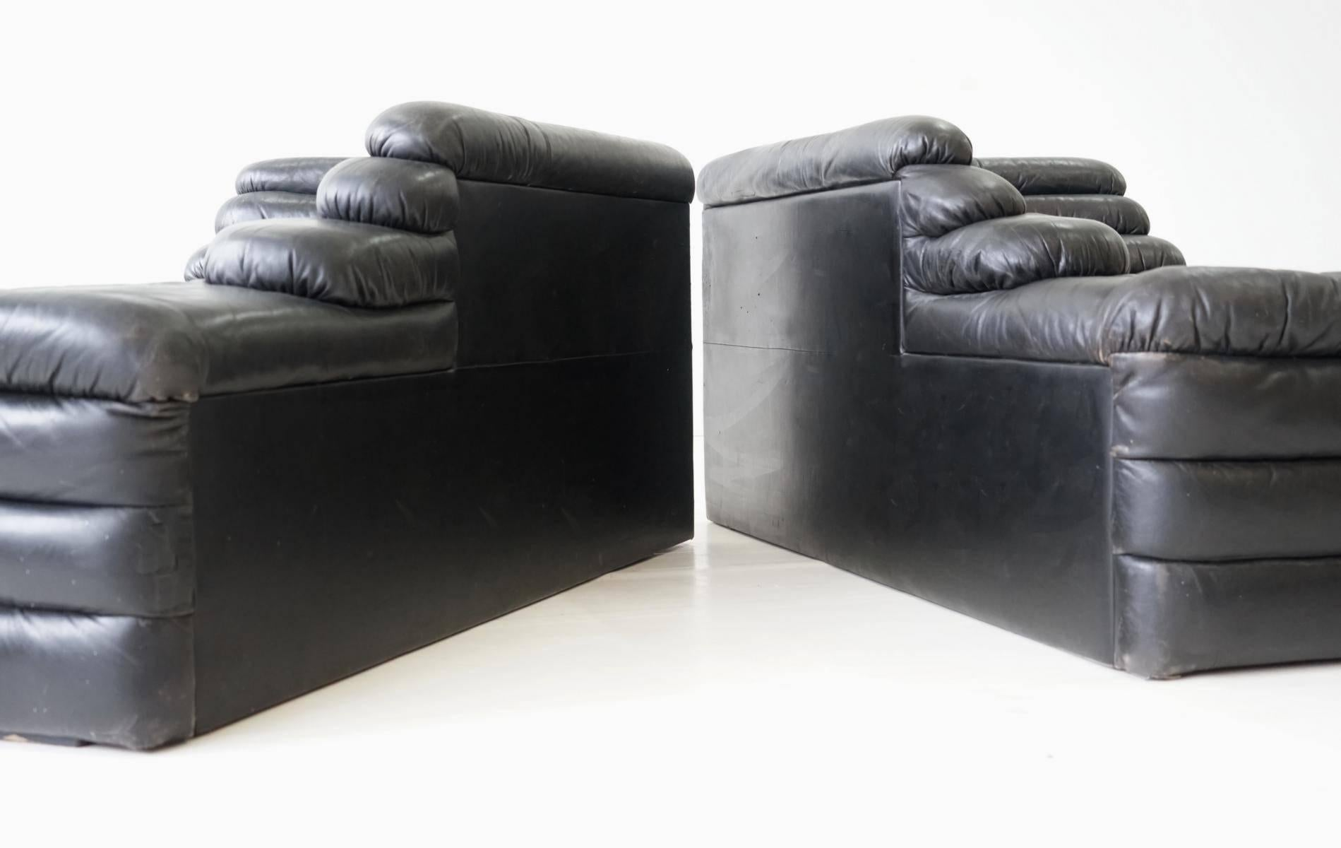 Beau Original Leather Pair Of DS 1025 Terrazza By Ubald Klug De Sede Lounge Sofa  Cana For