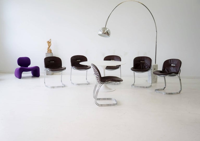 Set of six Gastone Rinaldi Sabrina dining cantilever chairs Italy, 1970s