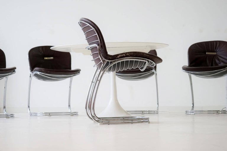 Mid-Century Modern Set of Six Gastone Rinaldi Sabrina Dining Cantilever Chairs Italy, 1970s For Sale