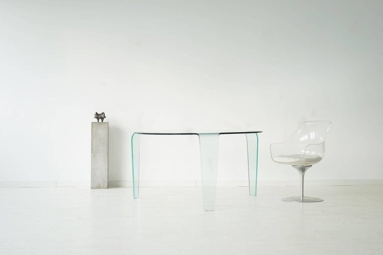 roche bobois glass dining table from one piece three legs design classic exclusive puristic glass