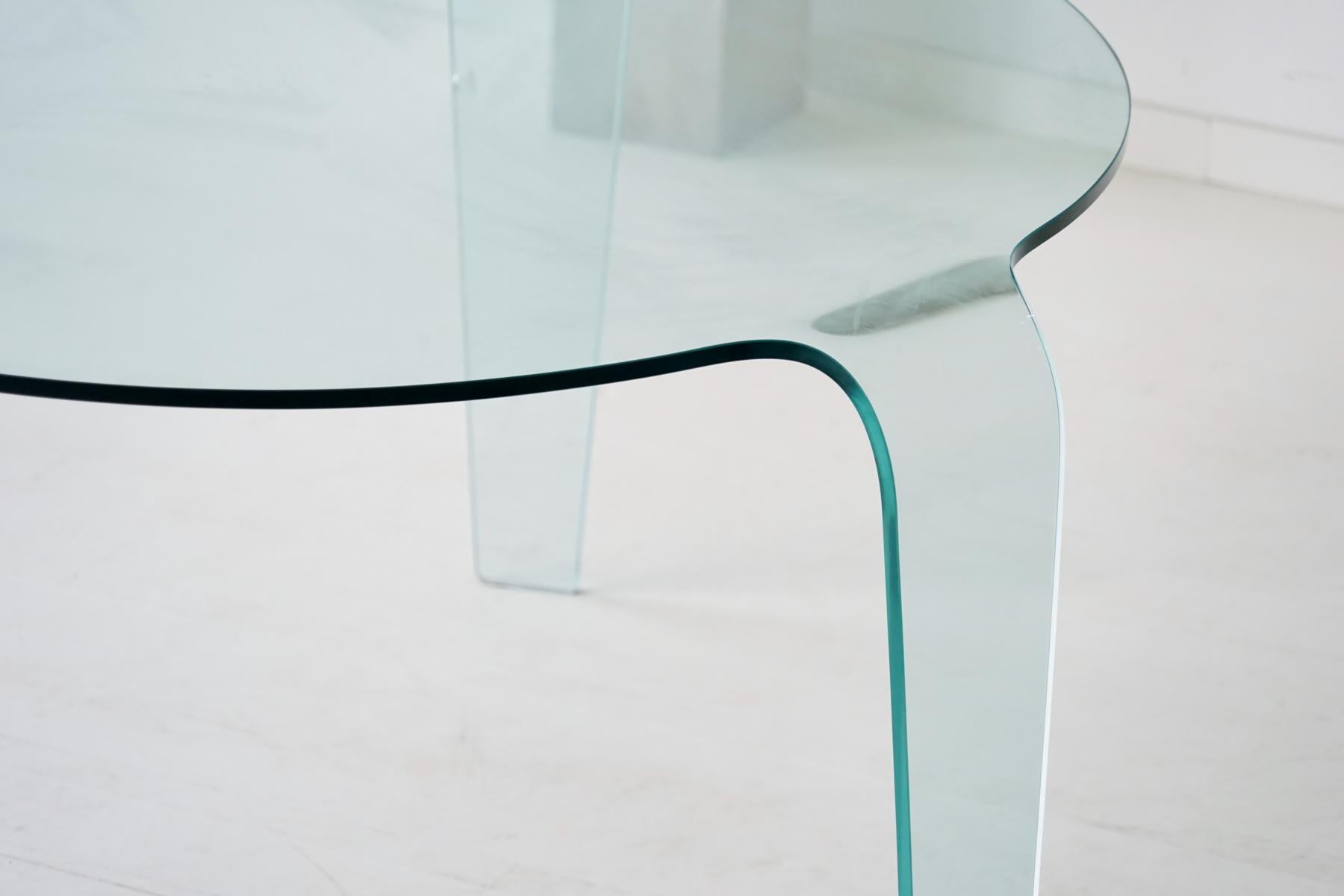 Roche Bobois Glass Dining Table From One Piece Three Legs Design