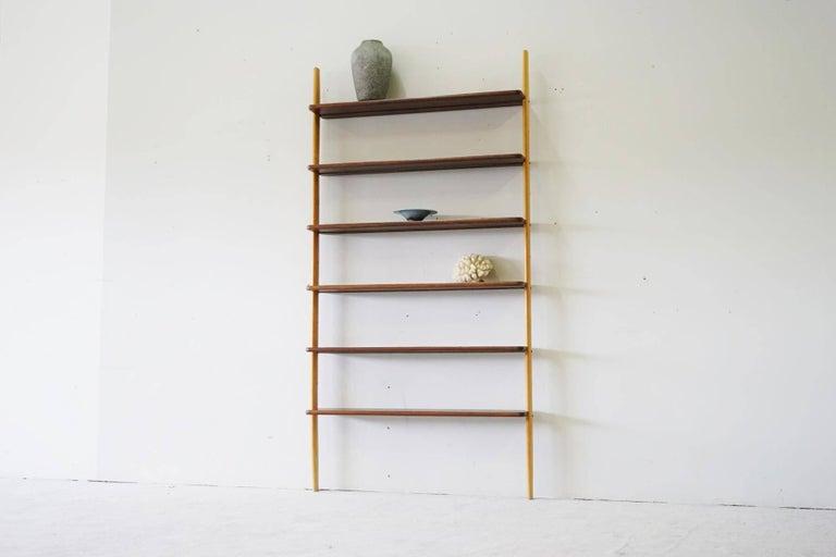 Rare Midcentury Teak Wall Unit Shelf System, 1960s 2
