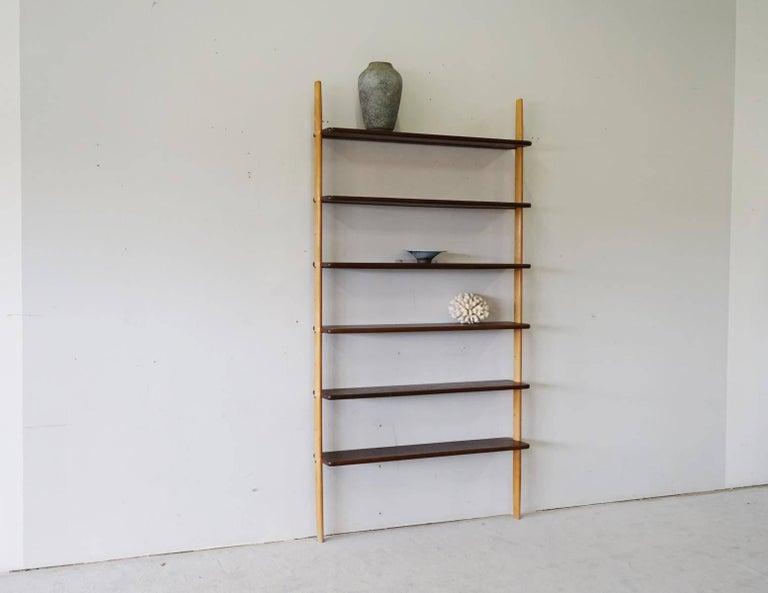Rare Midcentury Teak Wall Unit Shelf System, 1960s 9