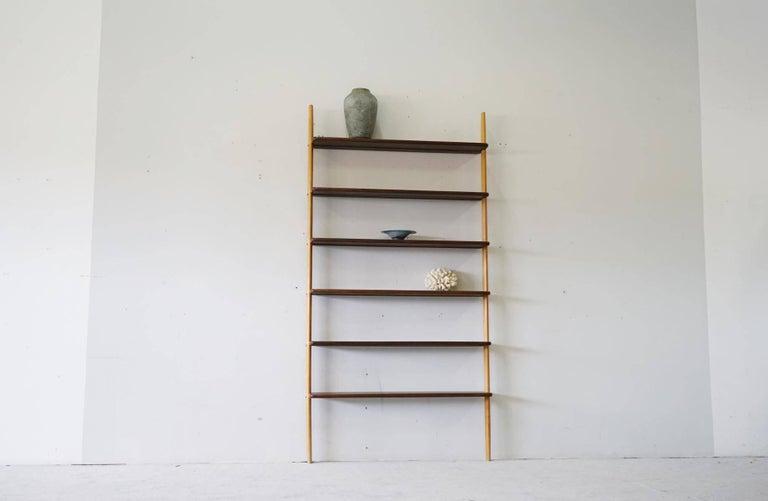 Rare Midcentury Teak Wall Unit Shelf System, 1960s 10