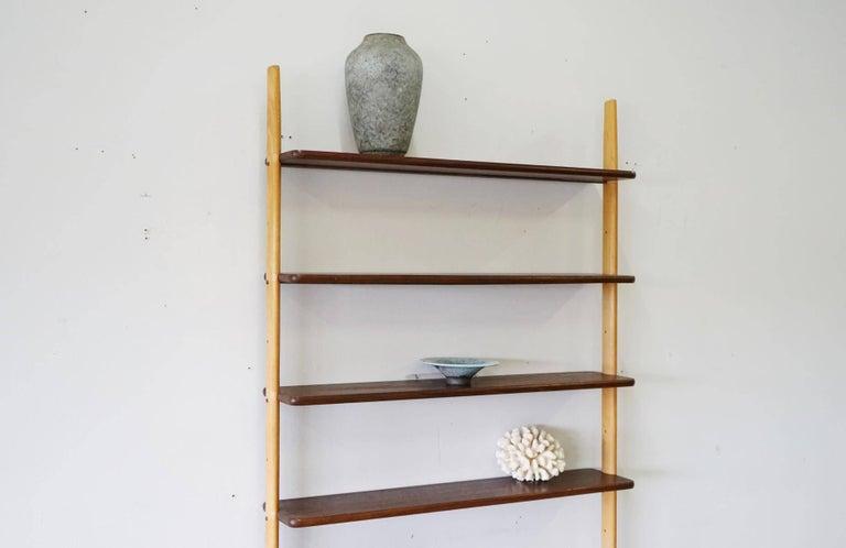 Rare Midcentury Teak Wall Unit Shelf System, 1960s 7