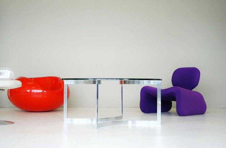 Glass Chrome Coffee Side Cocktail Couch Table, 1960s For Sale 1