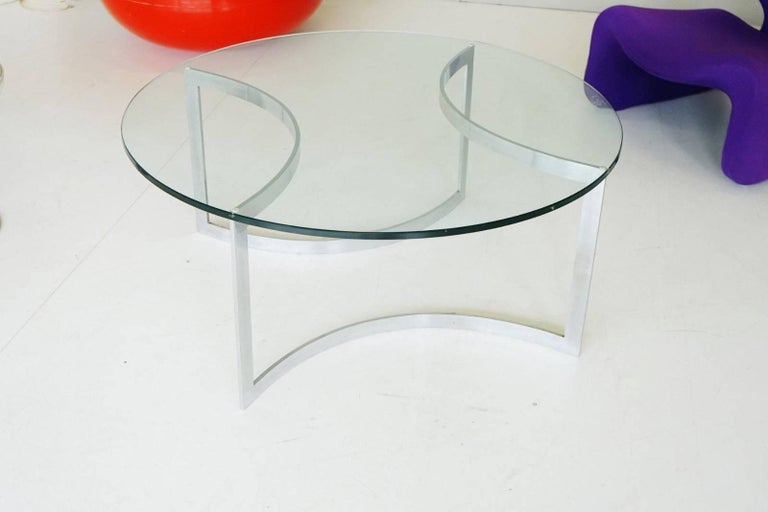 Glass Chrome Coffee Side Cocktail Couch Table, 1960s In Good Condition For Sale In Greven, DE