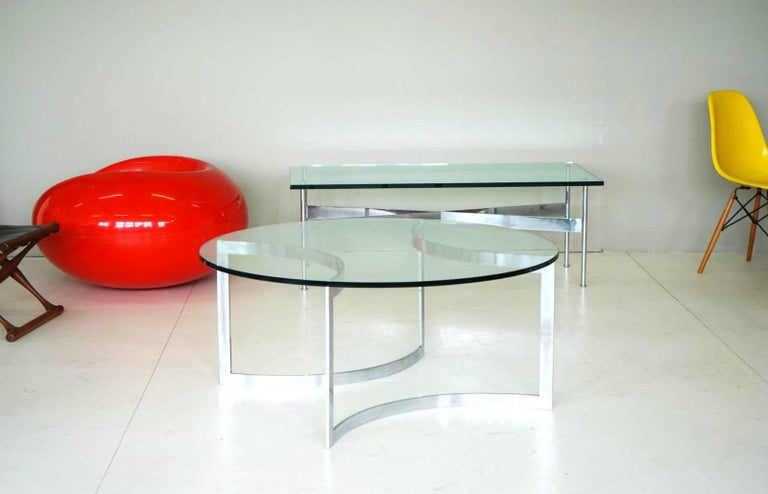 French Glass Chrome Coffee Side Cocktail Couch Table, 1960s For Sale