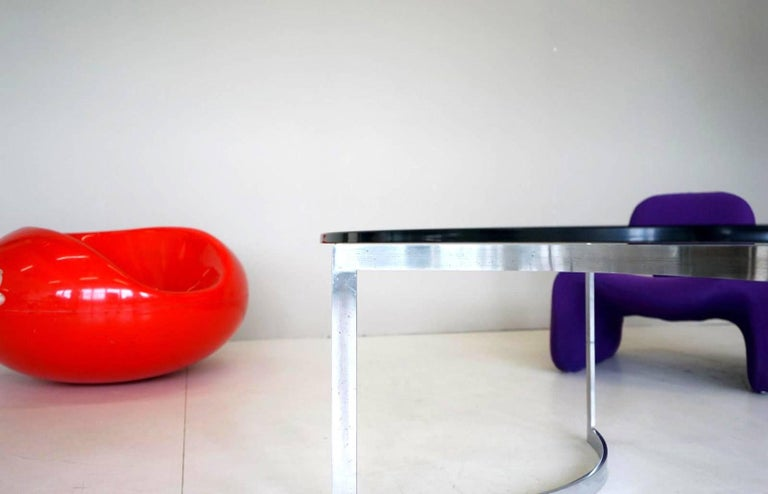 Steel Glass Chrome Coffee Side Cocktail Couch Table, 1960s For Sale