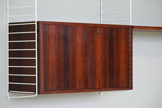 Nisse Strinning box and wall unit string shelf rack system by nisse strinning 1960s