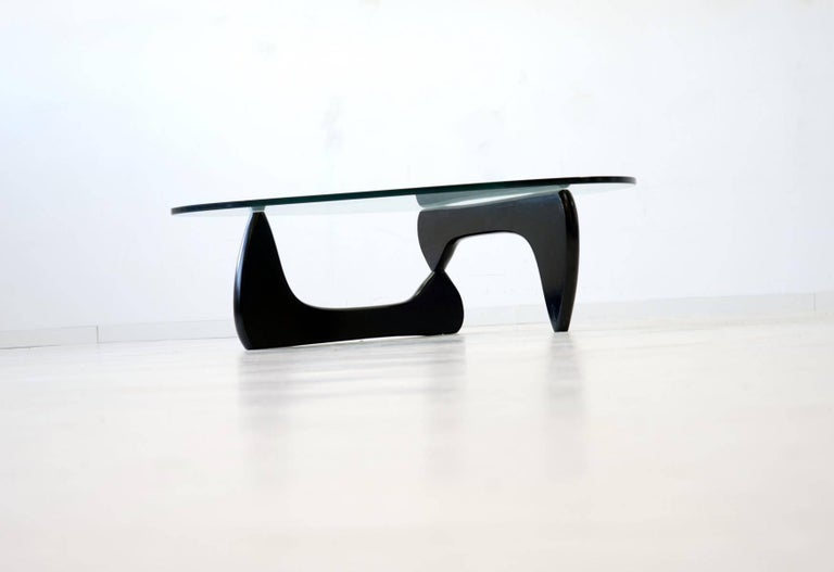 American Noguchi Herman Miller Sofa Couch Side Coffee Glass Table, 1960s For Sale