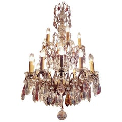 French Bronze Chandelier with Colored Crystals 15-Light