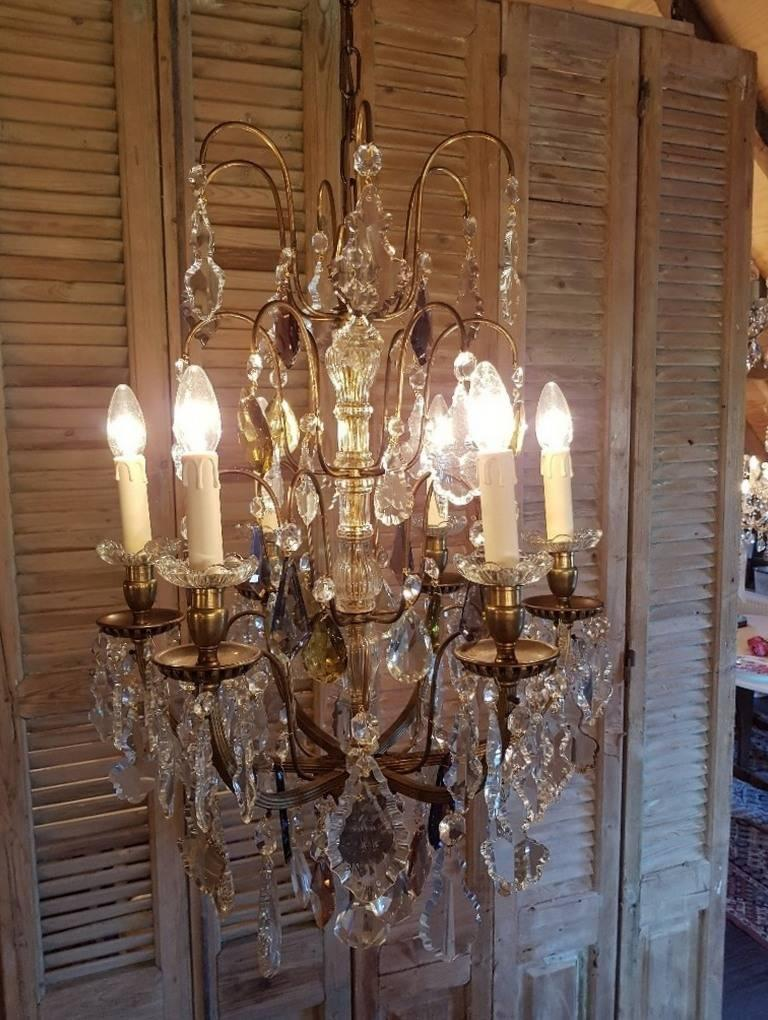 French Bronze Chandelier Hung with Colored Crystals, Six Lights ...