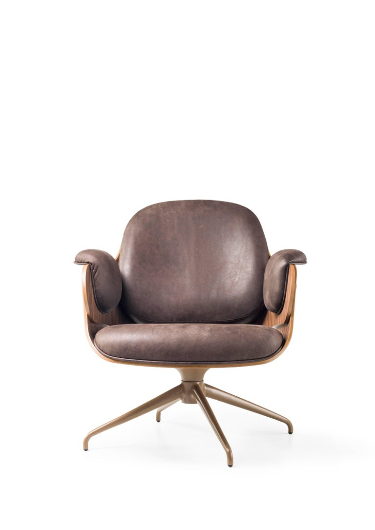 Modern Low Lounger, Swivel Wooden Armchair upholstered in leather by Jaime Hayon For Sale