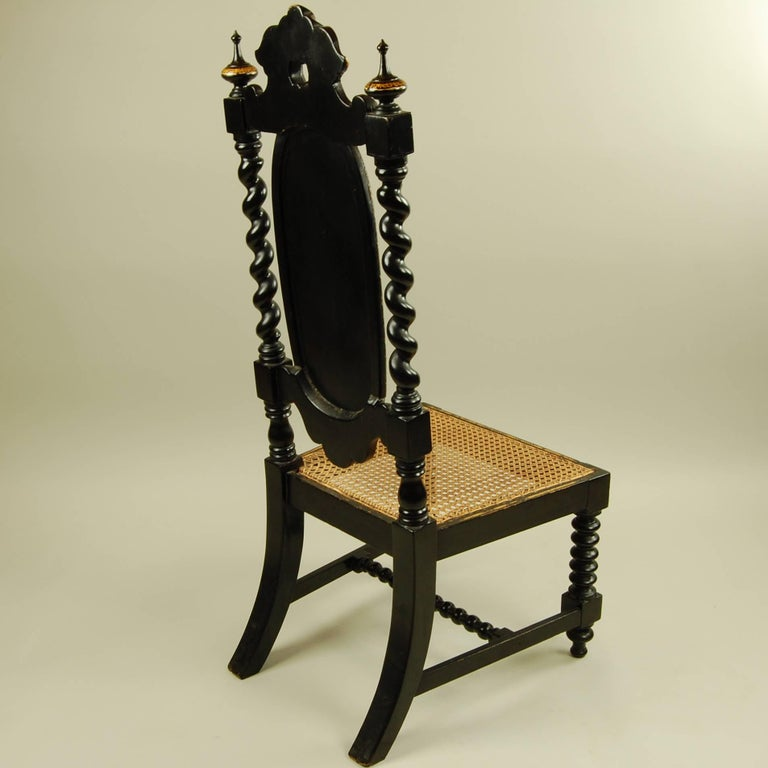 Antique High Back Twisted Leg Ornate Side Chair For Sale At 1stdibs