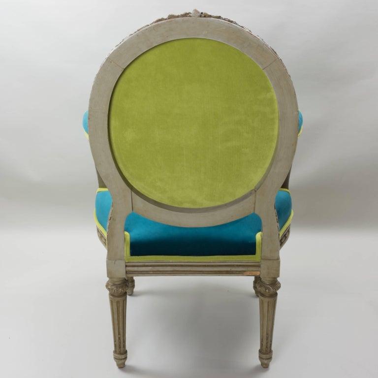 Mid-19th Century Pair of Louis XVI Style Armchairs Blue Pine Velvet For Sale