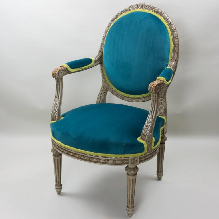 Pair of Louis XVI Style Armchairs Blue Pine Velvet In Good Condition For Sale In Pataskala, OH