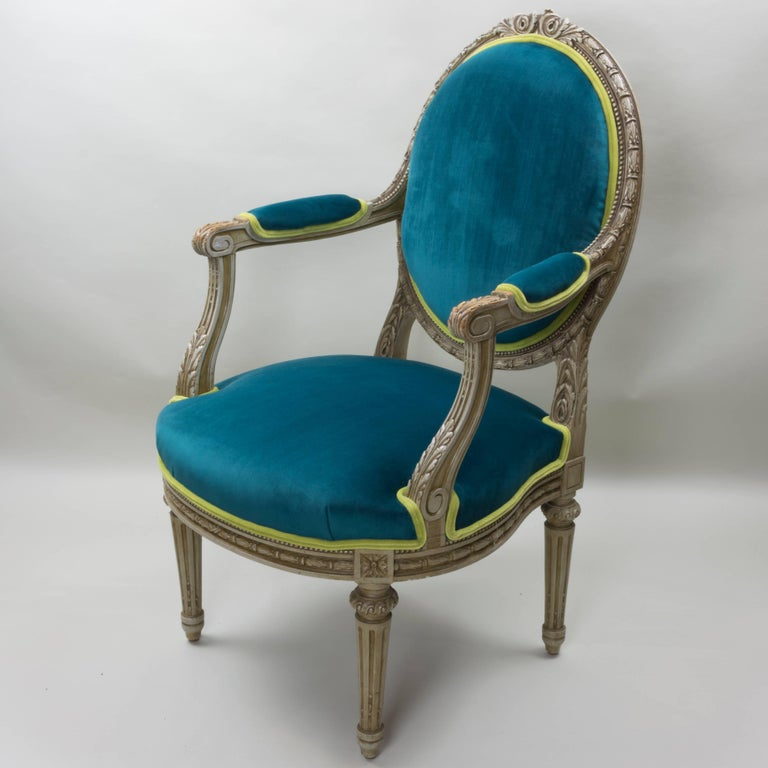 French Pair of Louis XVI Style Armchairs Blue Pine Velvet For Sale