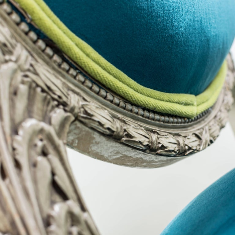 Pair of Louis XVI Style Armchairs Blue Pine Velvet For Sale 3